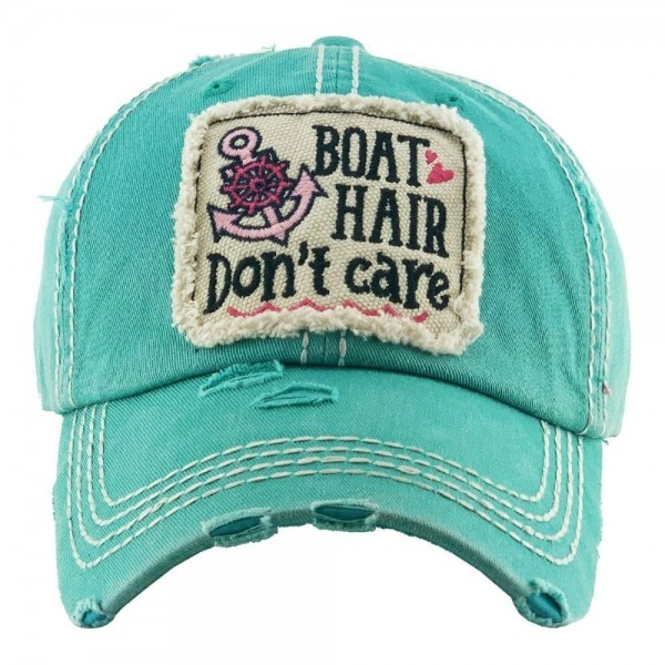 Boat Hair Don't Care Vintage Distressed Baseball Cap.  - One size fits most  - Adjustable Velcro Closure - 100% Cotton