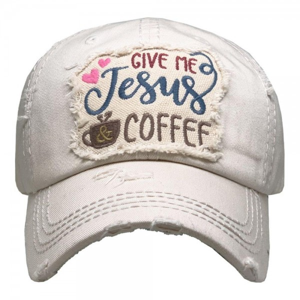 Give me Jesus & Coffee Vintage Distressed Baseball Cap.  - One size fits most - Adjustable Velcro Closure - 100% Cotton