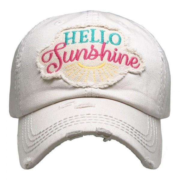 Hello Sunshine Vintage Distressed Baseball Cap.  - One size fits most - Adjustable Velcro Closure - 100% Cotton