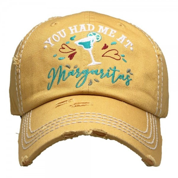 You Had Me At Margaritas Vintage Distressed Baseball Cap.  - One size fits most - Adjustable Velcro Closure - 100% Cotton