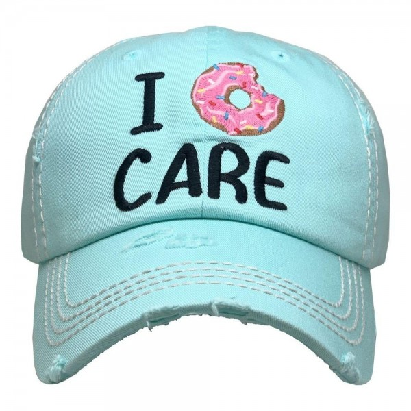 I Donut Care Vintage Distressed Baseball Cap.  - One size fits most  - Adjustable Velcro Closure - 100% Cotton