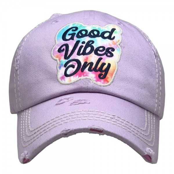 Good Vibes Only Tie-Dye Vintage Distressed Baseball Cap.  - One size fits most  - Adjustable Velcro Closure - 100% Cotton