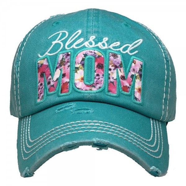 Blessed Mom Floral Vintage Distressed Baseball Cap.  - One size fits most - Adjustable Velcro Closure - 100% Cotton