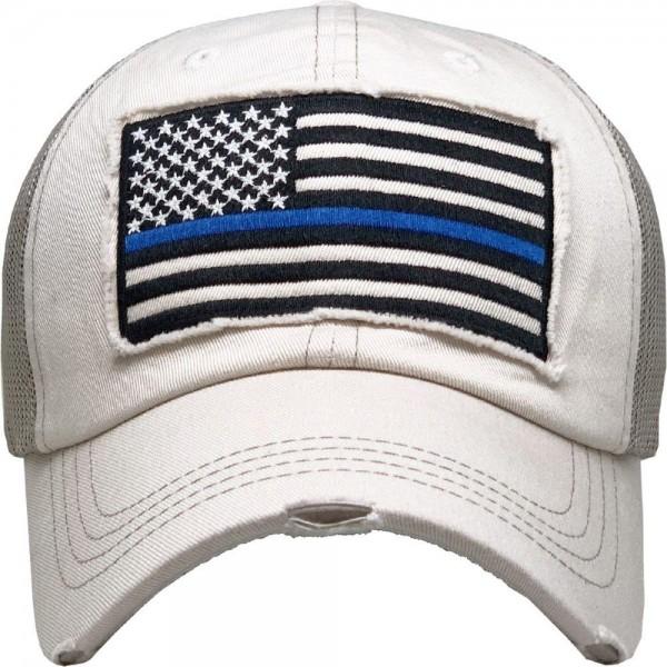 Vintage Distressed Blue Line Flag Mesh Baseball Cap.  - One size fits most - Adjustable Snap Closure - 100& Cotton