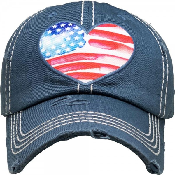 Vintage Distressed American Heart Baseball Cap.  - One size fits most  - Adjustable Velcro Closure - 100% Cotton