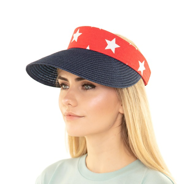USA Themed Sun Visor Featuring Adjustable Velcro Closure.   - 55% Paper, 45% Polyester  - One Size Fits Most