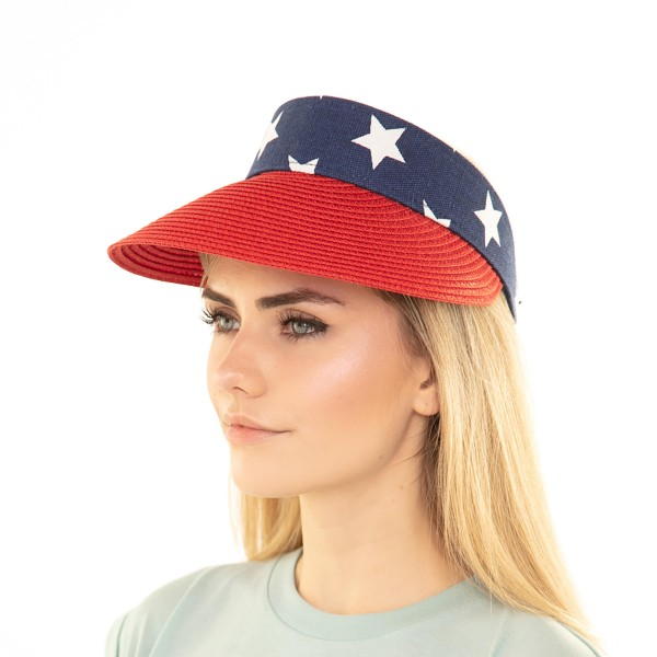 USA Themed Sun Visor Featuring Adjustable Velcro Closure.