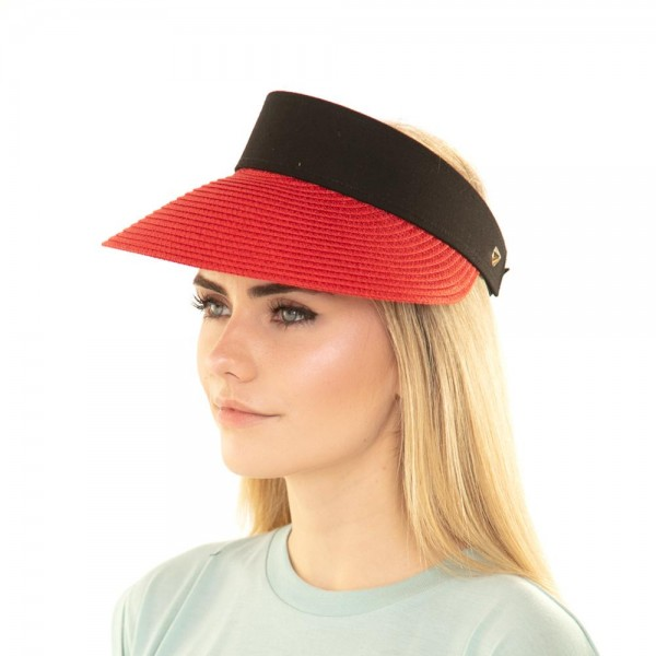 "Paper Straw Roll Up Sun Visor.  - One size fits most  - Adjustable Velcro Closure - Brim Width: 4.5""  - 55% Paper / 45% Polyester"