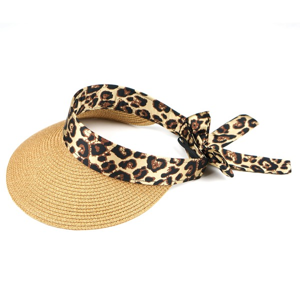 "Paper Straw Roll Up Sun Visor Featuring a Leopard Print Sasha.  - One size fits most  - Adjustable Velcro Closure - Brim Width: 4.5""  - 17"" Animal Print Sasha - 55% Paper / 45% Polyester"