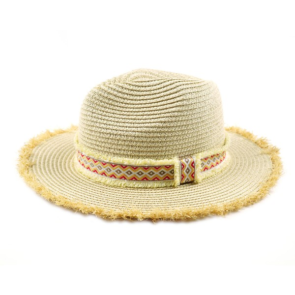 "Paper Straw Panama Hat Featuring an Aztec Band and Raffia Trim.  - One size fits most - Adjustable Inside Drawstring  - Brim Width: 2.5""  - 55% Paper / 45% Polyester"