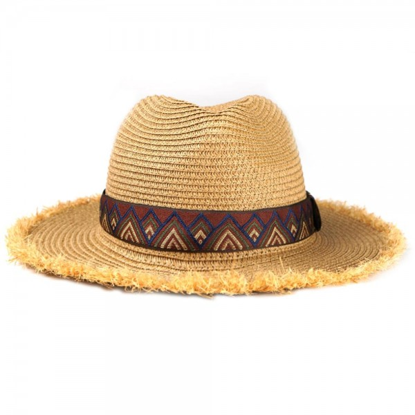 "Paper Straw Panama Hat Featuring a Brown Aztec Band and Raffia Trim.  - One size fits most  - Inside Adjustable Drawstring  - Brim Width: 2.5""  - 55% Paper / 45% Polyester"
