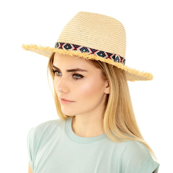 Wholesale paper Straw Panama Hat Multicolor Aztec Band Raffia Trim One fits most