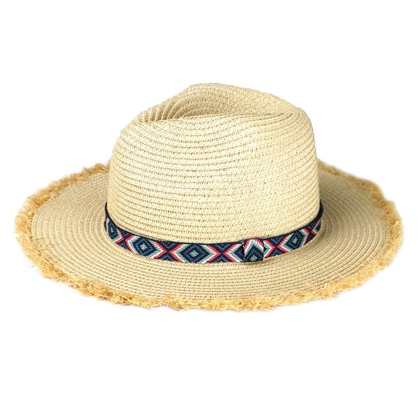 "Paper Straw Panama Hat Featuring a Multicolor Aztec Band and Raffia Trim.  - One size fits most  - Adjustable Inside Drawstring - Brim Width: 2.5""  - 55% Paper / 45% Polyester"