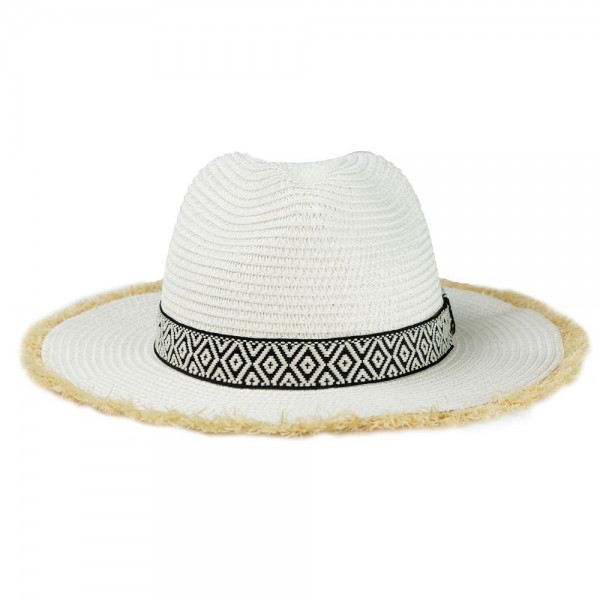 "Paper Straw Panama Hat Featuring Black & White Aztec Band and Raffia Trim.  - One size fits most  - Inside Adjustable Drawstring - Brim Width 2.5""  - 55% Paper / 45% Polyester"