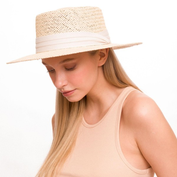 """Women's Wide Brim Paper Hat Featuring a Wide Ribbon Band.  - Band 1.5""""  - Adjustable Inside Drawstring  - Brim: 3""""  - 100% Paper"""