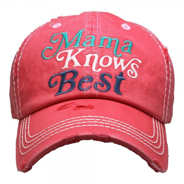 Mama Knows Best Vintage Distressed Baseball Cap.  - One size fits most - Adjustable Velcro Closure - 100% Cotton