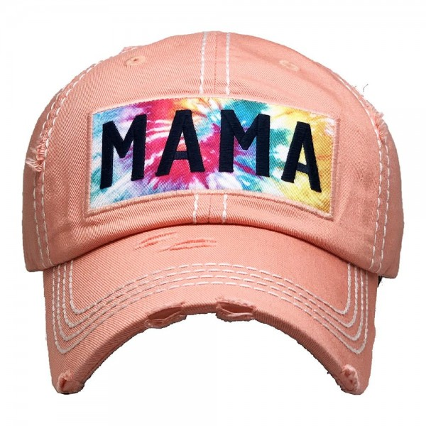 Mama Tie-Dye Vintage Distressed Baseball Cap.  - One size fits most - Adjustable Velcro Closure - 100% Cotton