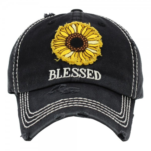 "Sunflower Vintage Distressed Baseball Cap That Says ""Blessed"".   - One size fits most - Adjustable Velcro Closure - 100% Cotton"