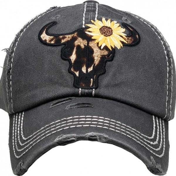 Leopard Steer Skull Sunflower Vintage Distressed Baseball Cap.  - One size fits most - Adjustable back strap - 100% Cotton