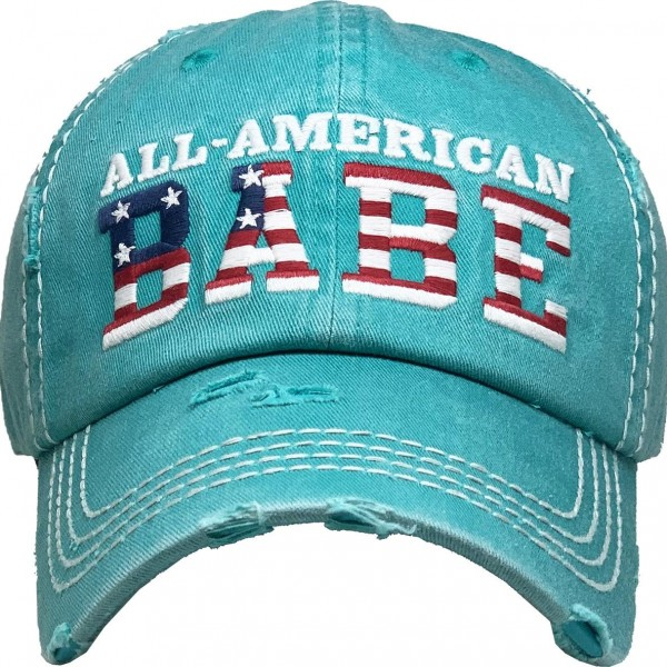 All American Babe Vintage Distressed Baseball Cap.  - One size fits most - Adjustable back strap - 100% Cotton