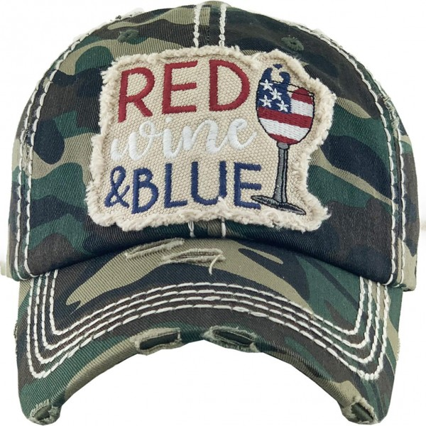 Red, Wine, And Blue Vintage Distressed Baseball Cap.  - One size fits most - Adjustable back strap - 100% Cotton