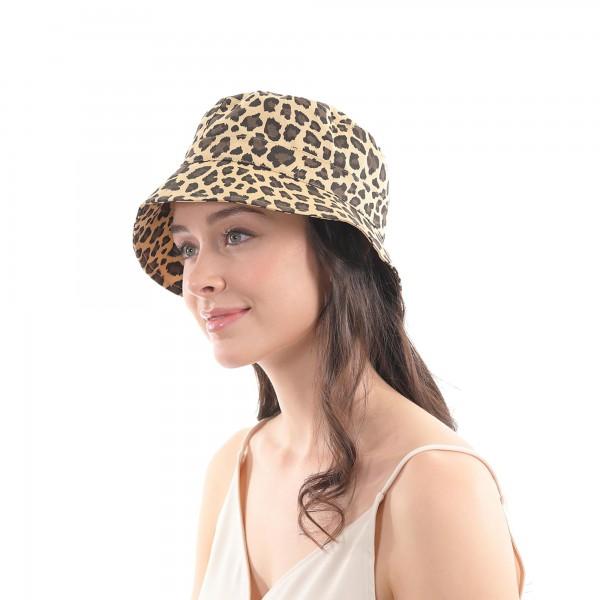 Leopard Print Bucket Hat.  - One size fits most - 100% Cotton