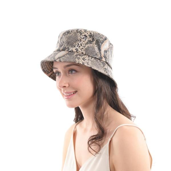 PU Snakeskin Bucket Hat.  - One size fits most  - 100% PU