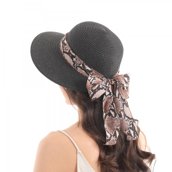 Paper Straw Wide Brim Sun Hat Featuring a Snakeskin Sasha.  - One size fits most  - 100% Paper