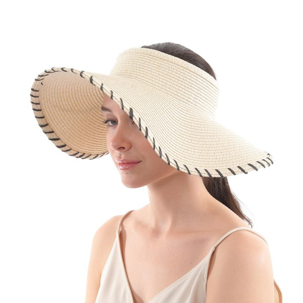 Wide Brim Paper Straw Roll Up Sun Visor.  - One size fits most - Adjustable Velcro Closure - Easy Roll Up - 100% Paper