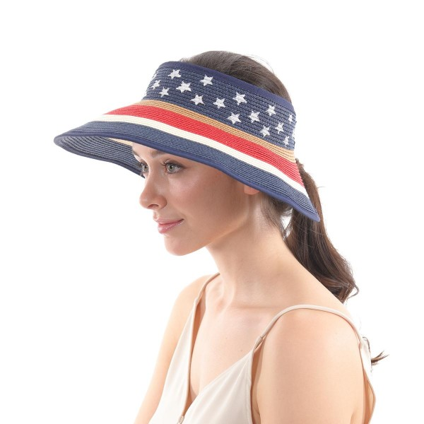 Wide Brim USA Paper Straw Roll Up Sun Visor.  - One size fits most  - Adjustable Velcro Closure - Easy Roll Up  - 100% Paper