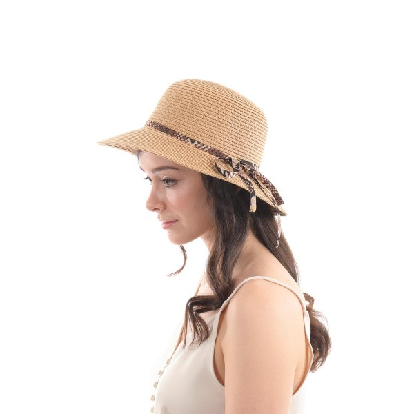 Wide Brim Paper Straw Sun Hat Featuring a Snakeskin Band Detail.  - One size fits most - 100% Paper