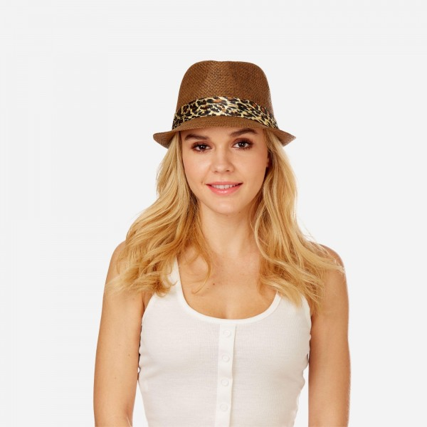 Women's Paper Fedora Hat Featuring a Satin Leopard Print Band.  - One size fits most  - 100% Paper