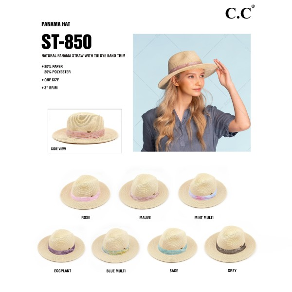 "C.C. ST-850  Straw Panama Hat Featuring Tie Dye Band Accent.   - One Size  - 80% Paper, 20% Polyester - Brim Approximately 3""  - Adjustable Drawstring Inside For Perfect Fit"