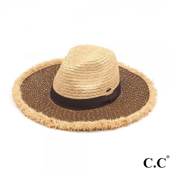 "C.C ST-900 Mixed Raffia/Paper Panama Hat Featuring Sequins & Frayed Trim  - One size fits most - Crown & Trim: Raffia - Brim: Paper - Brim Width: 3.5"""