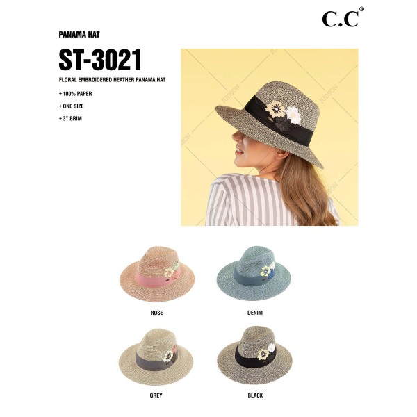 "C.C ST-3021 Floral Embroidered Heather Panama Hat  - One size - Brim Width: 3"" - 100% Paper"