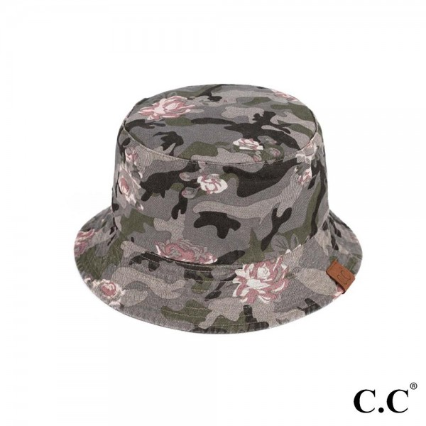 C.C BK-925  Floral Camouflage Reversible Bucket Hat -One Size -Reversible -2 inch brim -UV Protection 50+ -100% Cotton