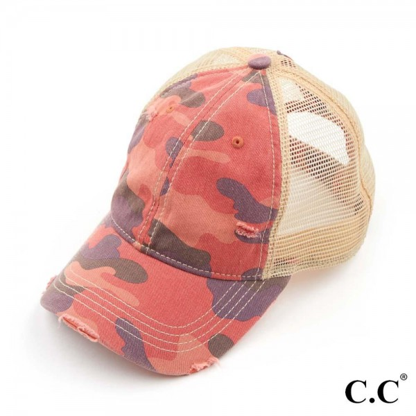 C.C BT-15 Camouflage Washed Cotton Twill Ponytail Cap With Mesh.   - Ponytail Hole  - One Size Fits Most - 70% Cotton / 30% Polyester