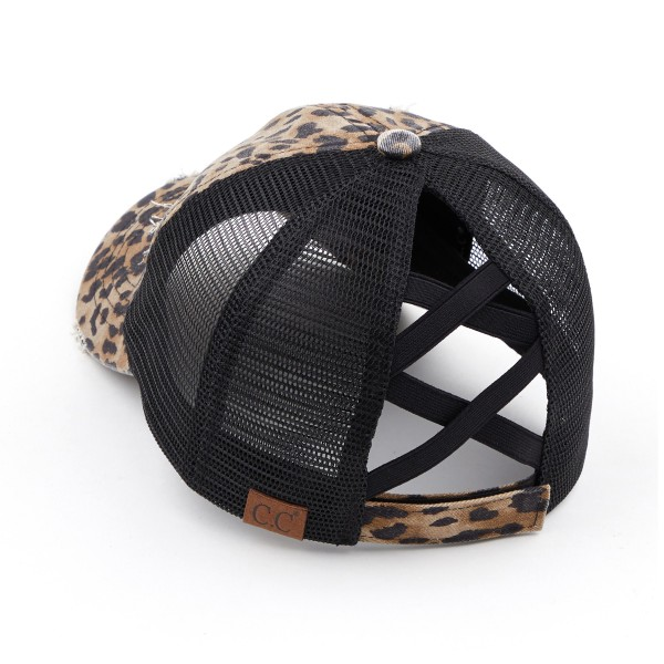 C.C Pony Cap BT-780 Distressed Leopard Print Criss Cross Pony Cap with Mesh Back   - One size fits most - Elastic criss cross ponytail opening  - Adjustable Velcro Closure - 60% Cotton / 40% Polyester