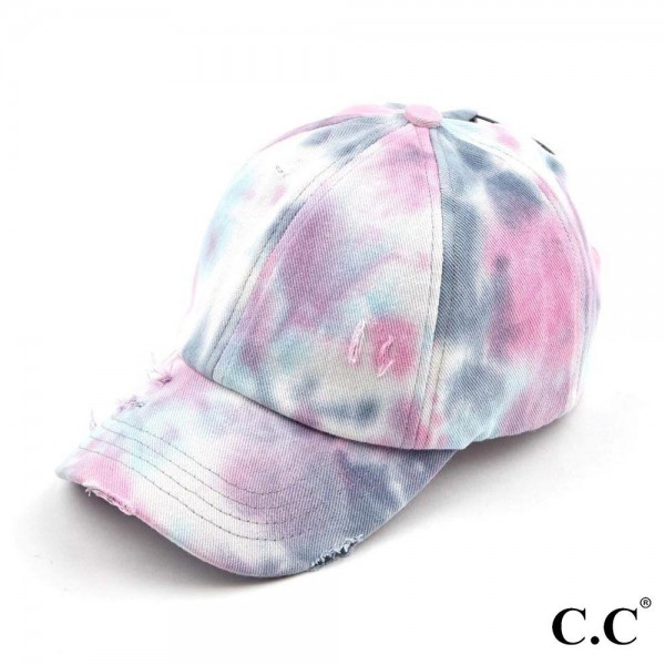 C.C BT-791 Tie Dye Criss Cross Pony Cap.  - One size fits most  - 100% Cotton