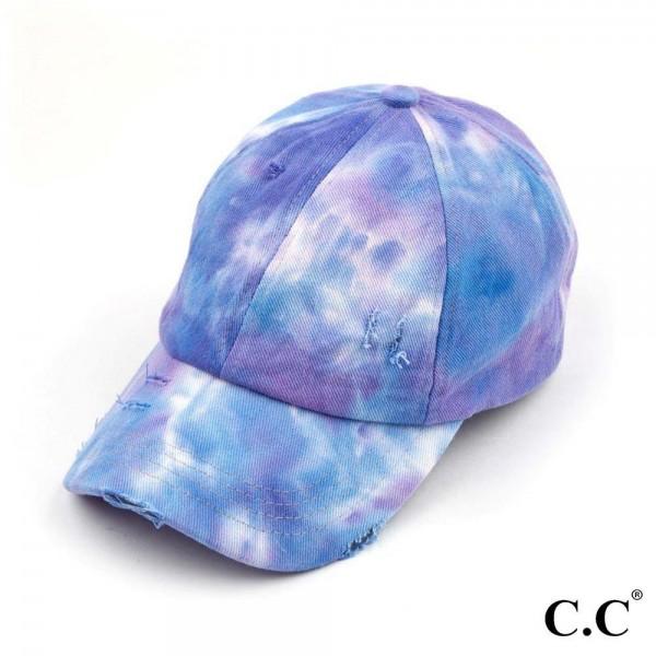 C.C BT-791 Tie Dye Criss Cross Pony Cap.  - One size fits most  - 100% Cotton