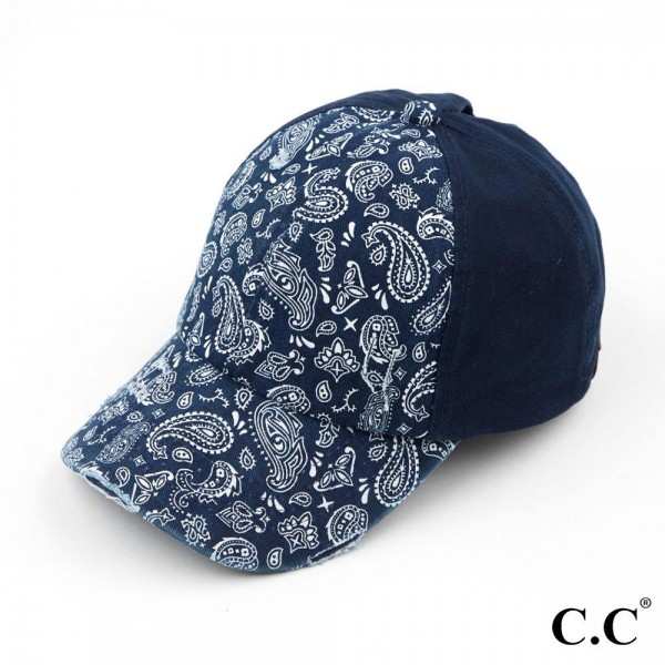 C.C BT-792 Vintage Distressed Paisley Criss Cross Pony Tail Cap  - One size fits most - Multi Wear Style - Adjustable Velcro Closure - 100% Cotton