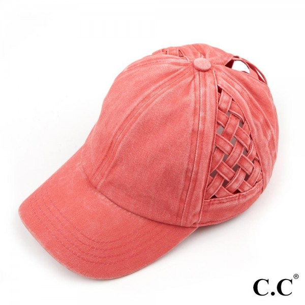 C.C BT-922 Criss Cross Pony Cap Featuring Basket Weave Design On Sides.   - One size fits most  - Elastic criss cross pony tail opening - Adjustable Velcro Closure - 100% Cotton