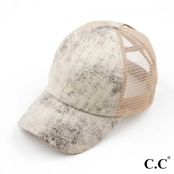 C.C BT-923 Vintage Faux Leather Criss Cross Pony Cap with Mess Back  - One size fits most - Multi Wear Style - Elastic Criss Cross Pony Tail Opening - Adjustable Velcro Closure - 60% PU / 40% Polyester