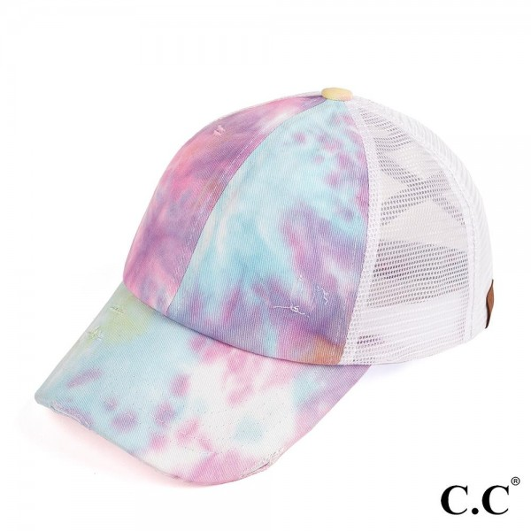 C.C. BT-924 Tie-Dye Criss Cross Mesh Ponytail Cap.   - 100% Cotton  - One Size Fits Most