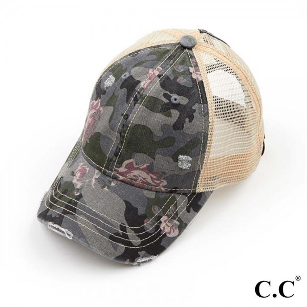 C.C BT-925 Floral Camouflage Mesh Ponytail Cap.   - Ponytail Hole  - One Size Fits Most - 70% Cotton / 30% Polyester