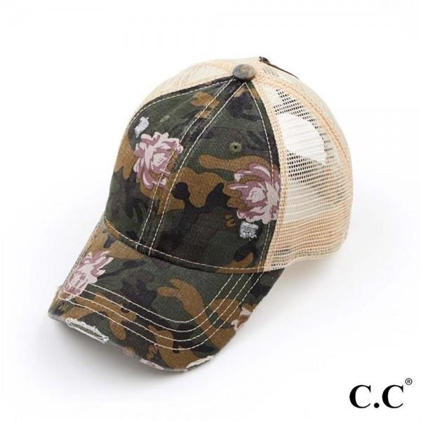 Wholesale c C BT Floral Camouflage Mesh Ponytail Cap Ponytail Hole One Fits Most