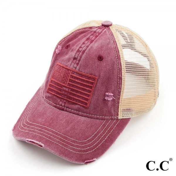 USA Embroidery Flag Ponytail Cap with Mesh Back.   - 70% Cotton, 30% Polyester