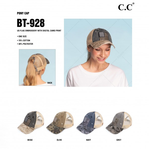 C.C BT-928 Ponytail Cap Featuring US Flag Embroidery with Digital Camouflage Print.   - Ponytail Hole  - One Size Fits Most - 70% Cotton / 30% Polyester
