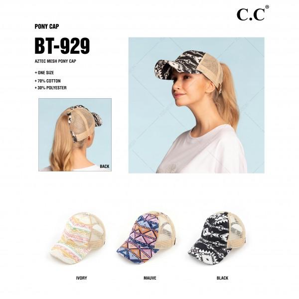 C.C BT-929 Aztec Print Mesh Ponytail Cap.   - Ponytail Hole  - One Size Fits Most - 70% Cotton / 30% Polyester