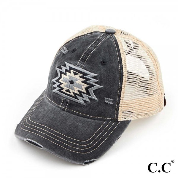 Aztec Patch Embroidery Mesh Ponytail Cap.   - 70% Cotton, 30% Polyester - One Size